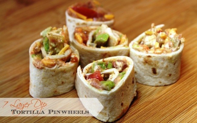 Tortilla Pinwheels – 7 Layer Dip Version