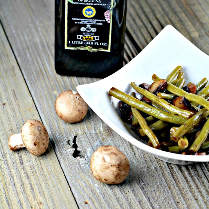 Green Beans And Mushrooms With Balsamic Glaze