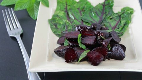 Roasted Baby Beets Glazed with Balsamic, Orange and Mint