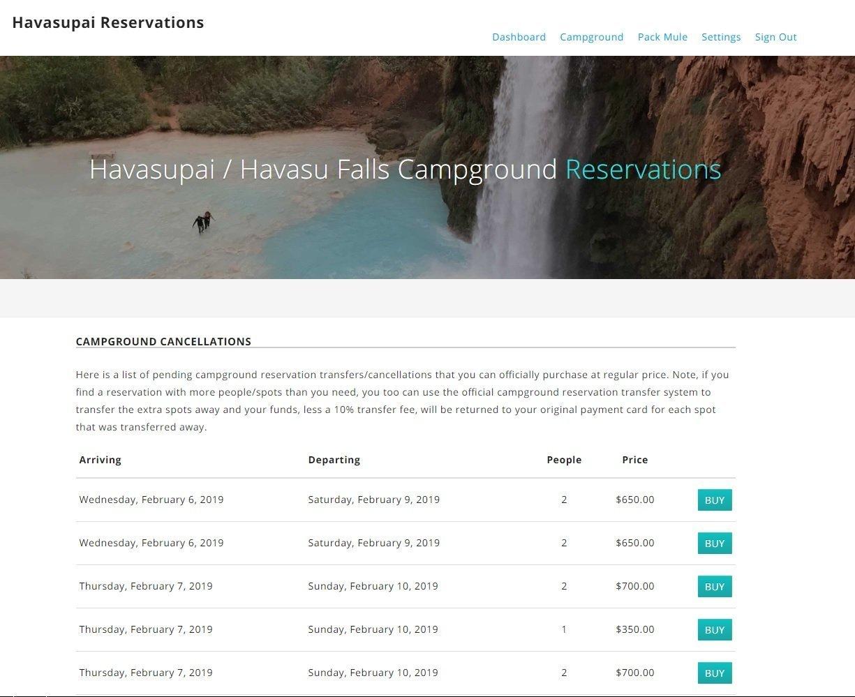 Havasu Falls Transfer Page